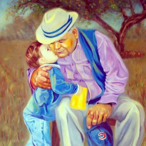 Painting of my grandfather with my cousin, I love this because it captures my grandfather's spirit.
