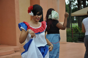 The author in her traditional folkloric Dominican outfit. Source: St. Thomas University Student Government Association Facebook page