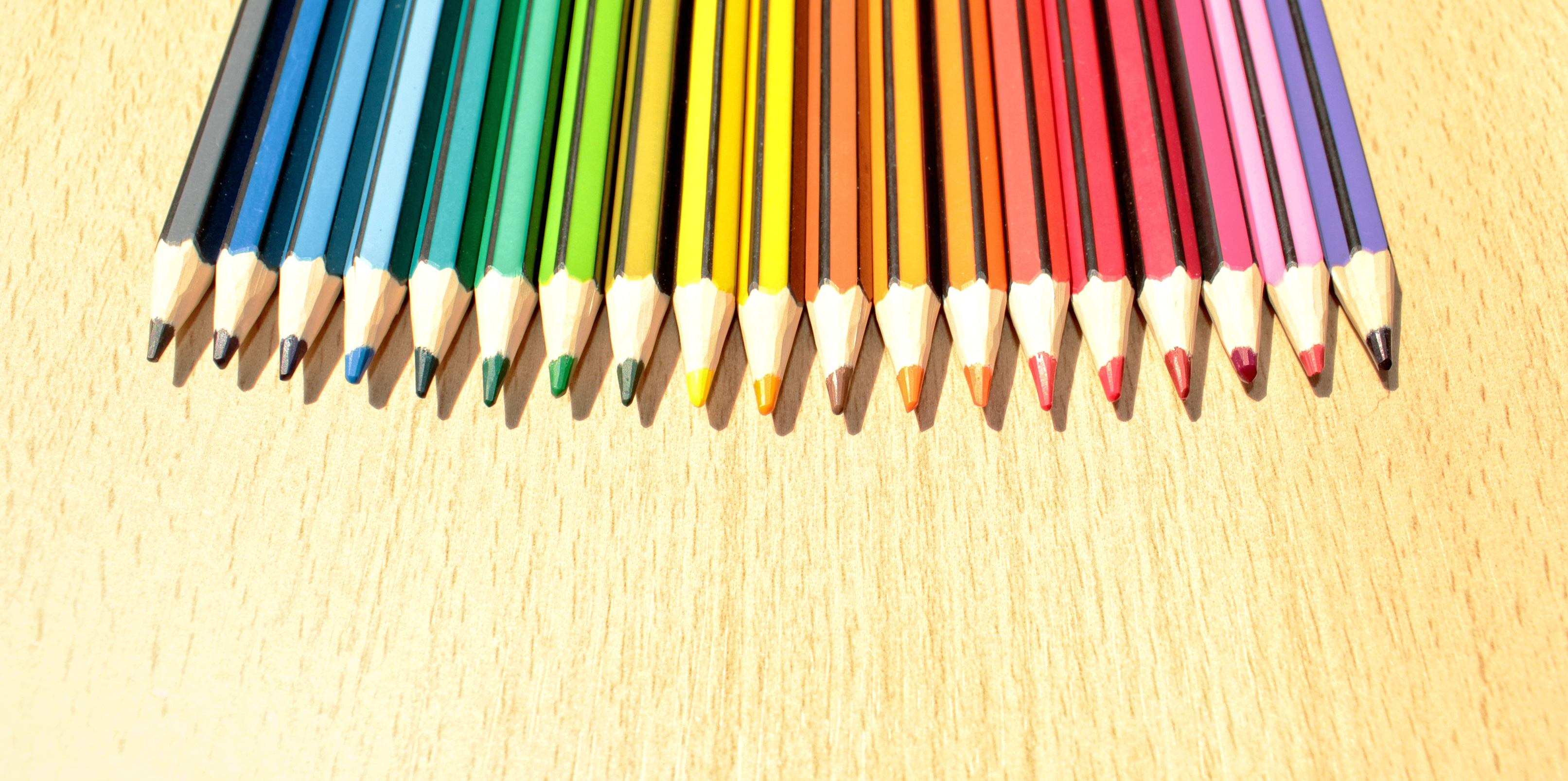 Colorful Pencils in a Row with Copyspace